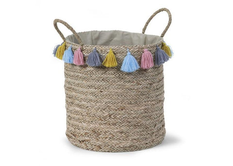Childhome - BOX STRAW WOVEN ROUND BASKET + TASSEL