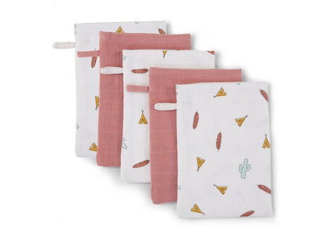Childhome - FACE CLOTH TETRA SET OF 3 PRINT TIPI + 2 NUDE