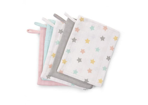 Childhome - FACE CLOTH TETRA SET OF 3 PASTEL + 2 PASTEL STARS