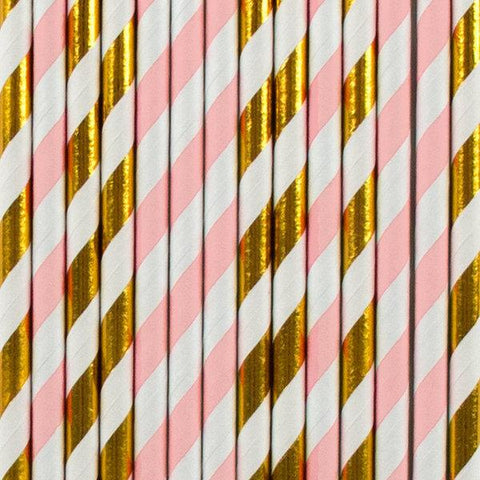 My Little Day - Light Pink  And Gold Stripes Straws