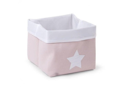 Childhome CANVAS BOX FOLDABLE 32X32X29 CM SOFT PINK WHITE