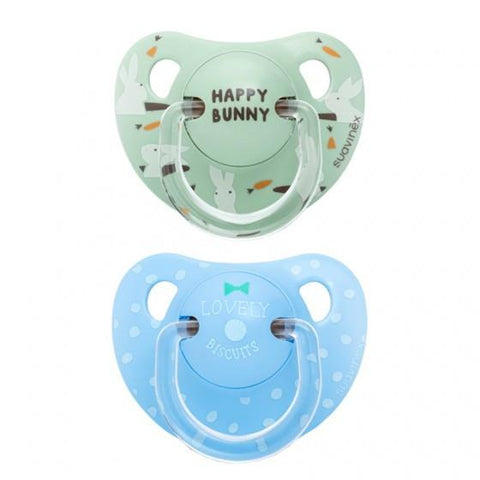 Suavinex - Pacifier Anatomical  +12 Months Lovely Biscuits & Happy Bunny 2Pack