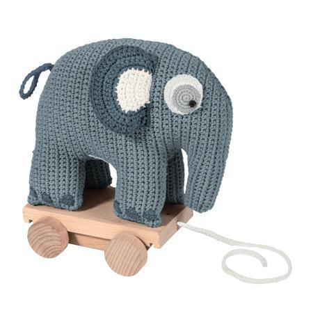 Sebra Pull Along Toy Elephant Blue