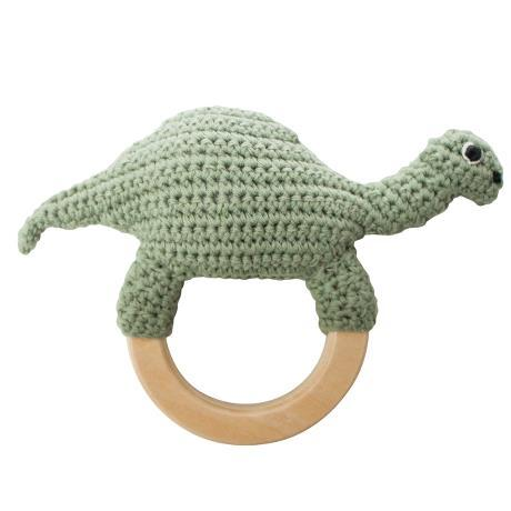 Sebra - Crochet Rattle Dino On Ring