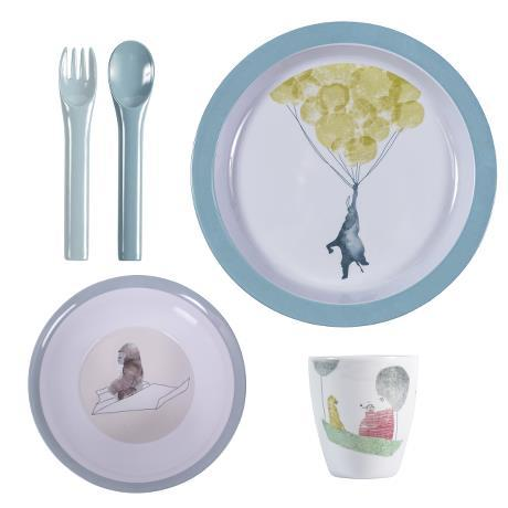 Sebra - Melamine Dinner Set cloud blue
