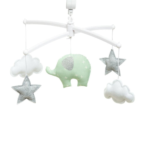 Pouce et Lina musical mobile - Mint green elephant and pompons