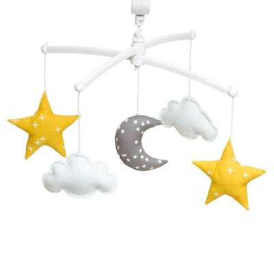Pouce et Lina - Musical Mobile Grey Moon and Yellow White Stars