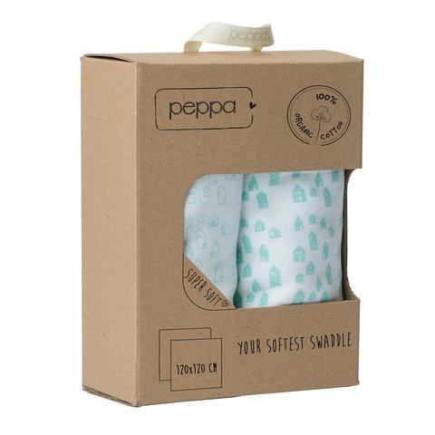 Peppa - Duo Pack Muslin Swaddles Houses White/ Mint