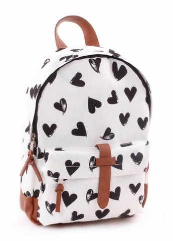Kidzroom - Black & White hearts Black backpack
