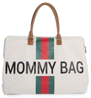 Childhome - Mommy Bag XL Off White Stripes Green/Red