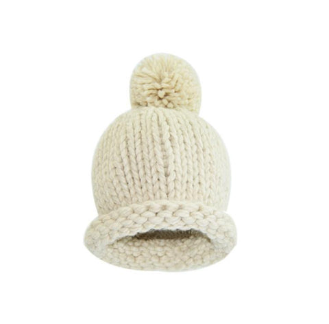 Cos I Said So - Pompom Crochet Hat Ecru