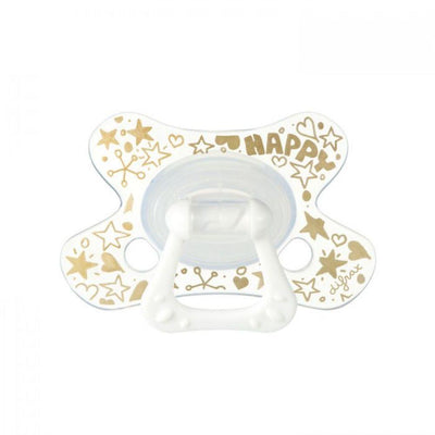 Difrax - Pacifier Dental 18+ Months Gold Happy