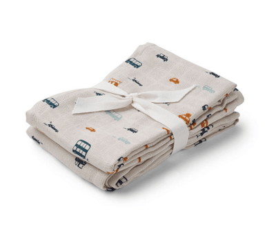 Liewood - Hannah Muslin Cloth Cars 2 Pack