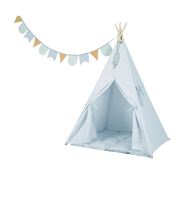 Little Dutch - Tipi Tent with Playmat and Halyard Blue