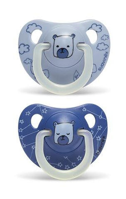Suavinex - Pacifier Night & Day Anatomical 6-18 Months Bear Blue 2Pack