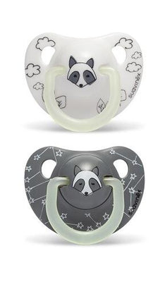 Suavinex - Pacifier Night & Day Anatomical 6-18 Months Raccoon Grey 2Pack