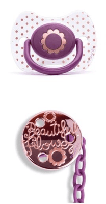 Suavinex - Pacifier and Clip Couture Physiological +4 Months Flower Purple