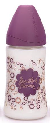 Suavinex - Feeding Bottle 270ml Silicone Teat +0 Months Contour Flower Purple