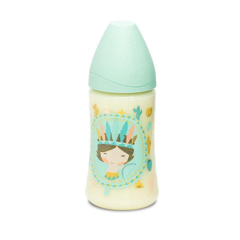 Suavinex - Feeding Bottle 270ml Silicone Teat +0 Months Indian Mint