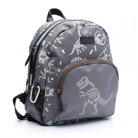 Zebra trends boys backpack small dino fossil grey