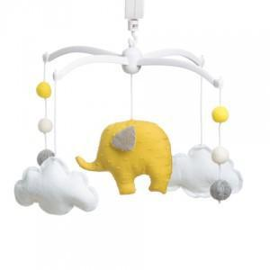 Pouce et Lina musical mobile - elephant and yellow pompons