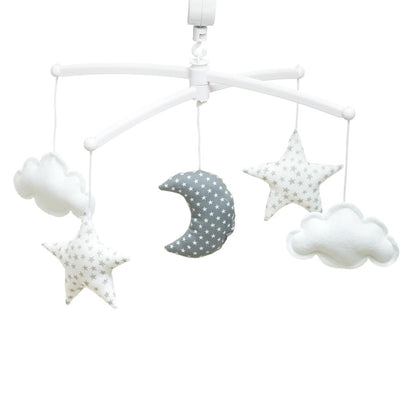 Pouce et Lina - Musical Mobile Grey and White Moon and Stars