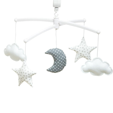 Pouce & Lina musical mobile - Grey and white moon and stars
