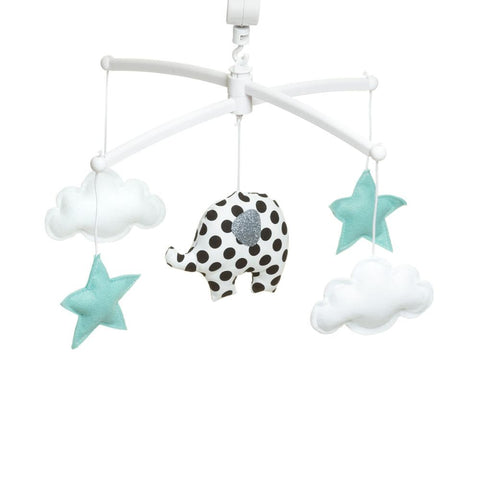 Pouce et Lina musical mobile  - Black and white dots elephant