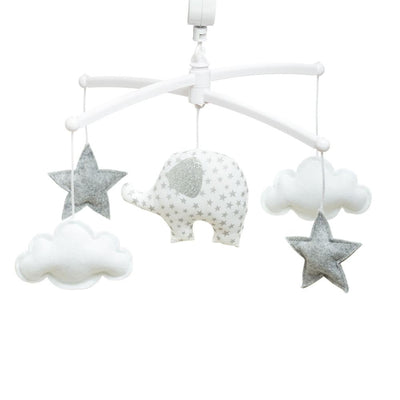 Pouce et Lina - Musical Mobile White Elephant Stars and Clouds