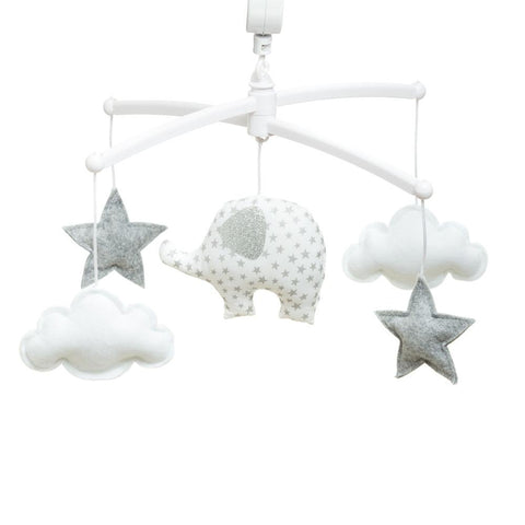 Pouce et Lina musical mobile - White elephant stars and clouds