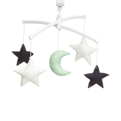 Pouce et Lina musical mobile  -Navy green moon and stars