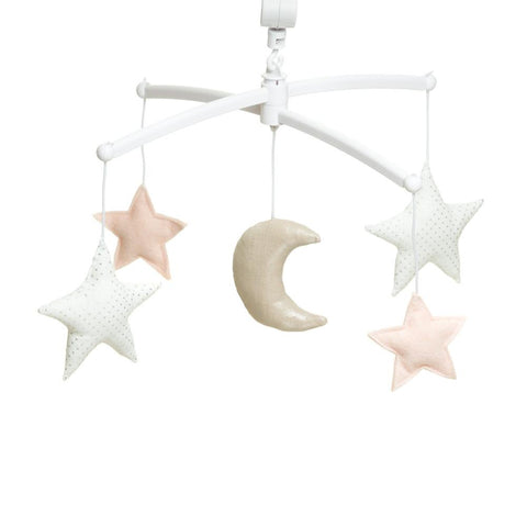 Pouce et Lina musical mobile  - Nude silver moon and stars