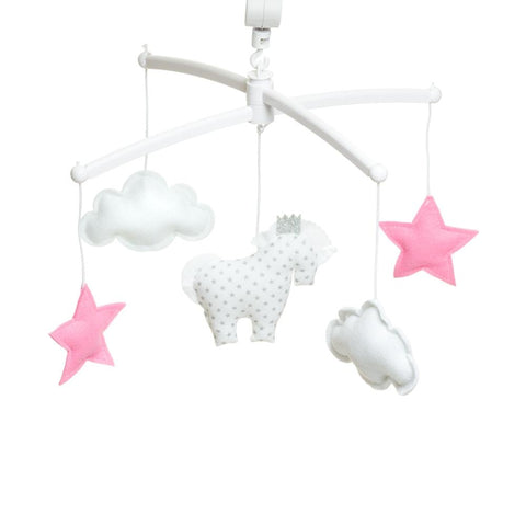Pouce et Lina - Musical Mobile White and Pink Unicorn