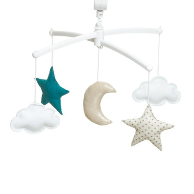 Pouce et Lina - Musical Mobile Green grey Moon and Stars