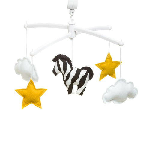 Pouce et Lina musical mobile – Zebra yellows stars white clouds