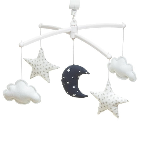 Pouce et Lina - Musical Mobile Navy white moon and stars
