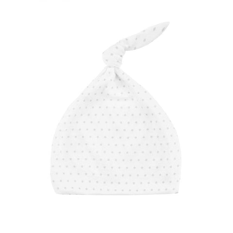 Effiki - Newborn Hat White In Grey Dots