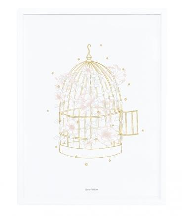Lilipinso - Framed Poster Cage And Flowers