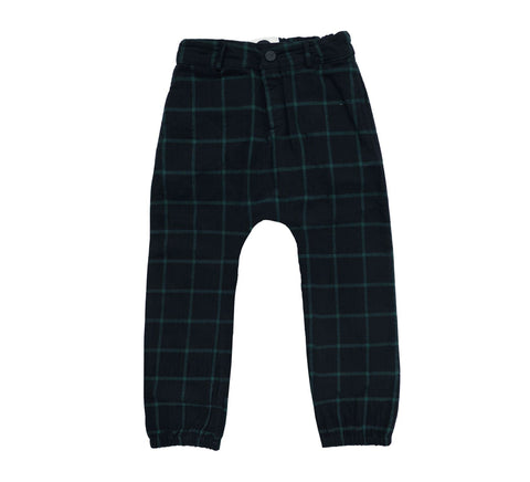 Sproet & Sprout - Woven Pants Check Black & Forrest Green