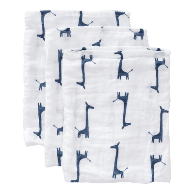 Fresk - Wash Cloth Set 3 pieces Giraf Indigo Blue