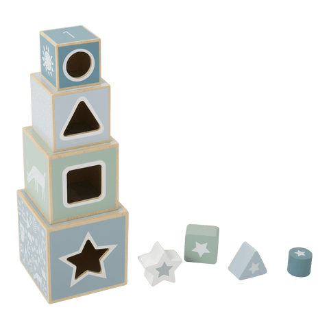 Little Dutch - Wooden Stacking Blocks Adventure Blue