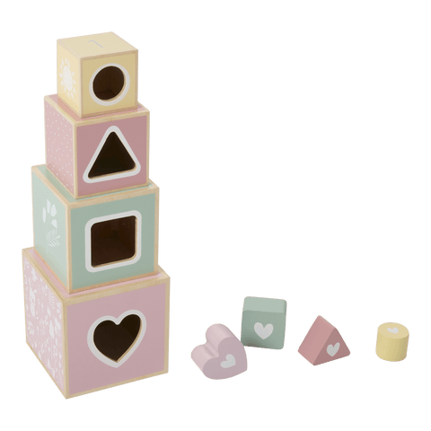 Little Dutch - Wooden Stacking Blocks Adventure Pink