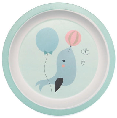 Petit Monkey - Bamboo Plate Seal blue