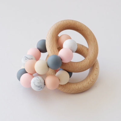Blossom & Bear - Wooden Teething Ring Toy Pink