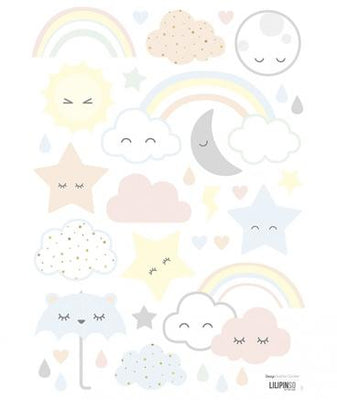 Lilipinso - Wall Sticker Laughing Clouds, Stars, Rainbows