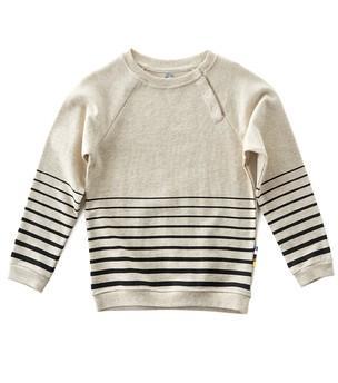 Little Label - Boys Sweater Stripes Beach White With Black