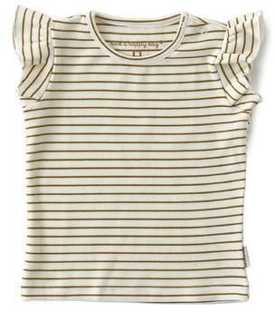 Little Label - Ruffle Top Brown Small Stripe