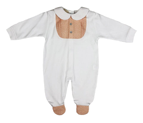Baby Gi - Cotton Babygrow Little Fish Salmon