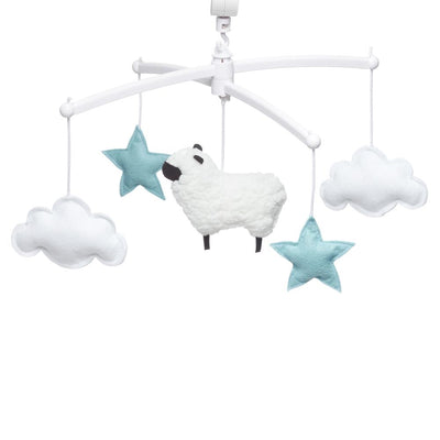 Pouce et Lina - Musical Mobile Blue and White Sheep