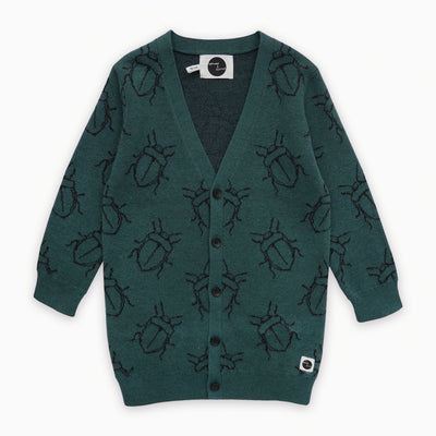 Sproet & Sprout - Cardigan Bugs Allover Dark Forrest Green